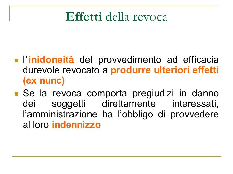 Effetti della revoca l'inidoneità del provvedimento ad efficacia durevole revocato a produrre ulteriori effetti (ex nunc)