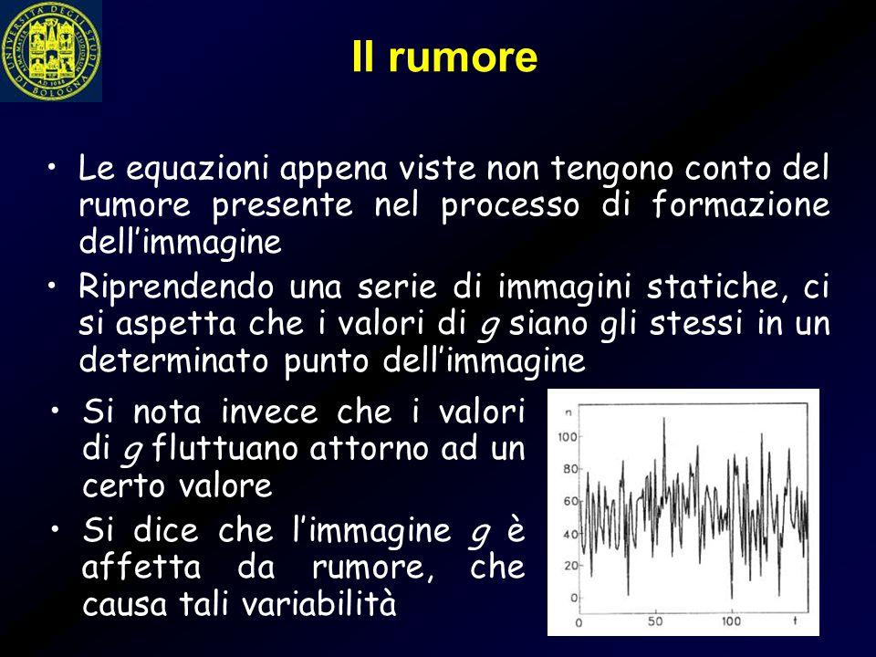 Il rumore Le equazioni appena viste non tengono conto del rumore presente nel processo di formazione dell'immagine.
