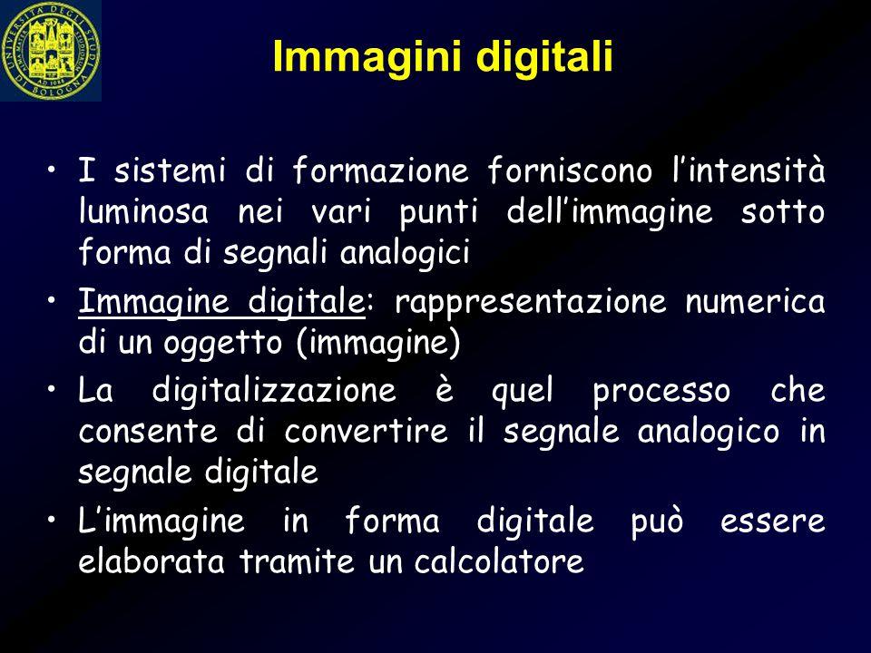 Immagini digitali I sistemi di formazione forniscono l'intensità luminosa nei vari punti dell'immagine sotto forma di segnali analogici.