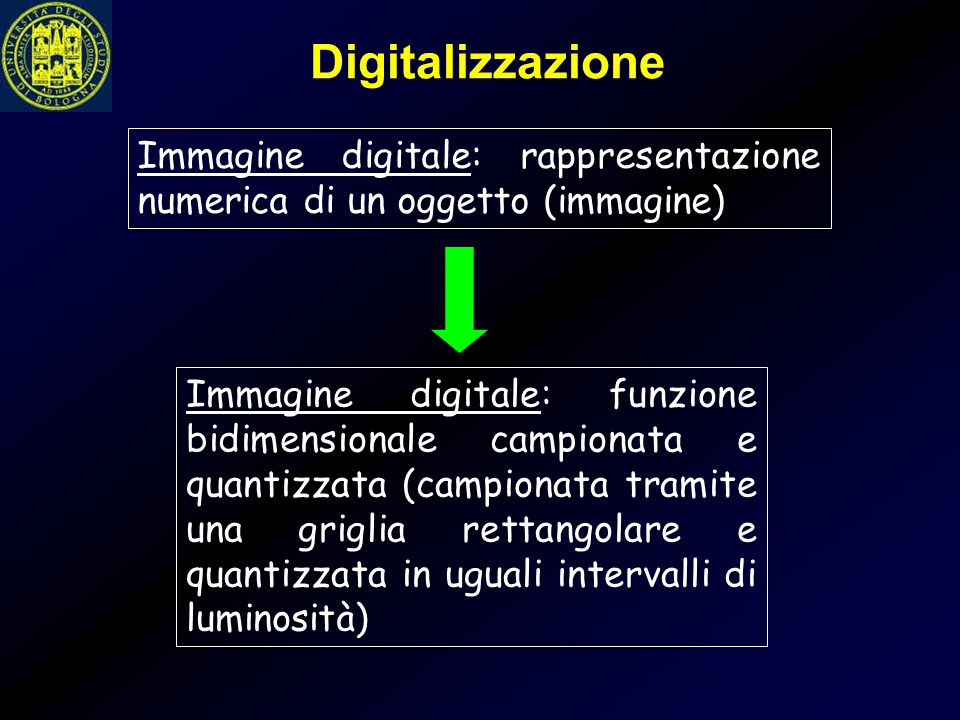 Digitalizzazione Immagine digitale: rappresentazione numerica di un oggetto (immagine)