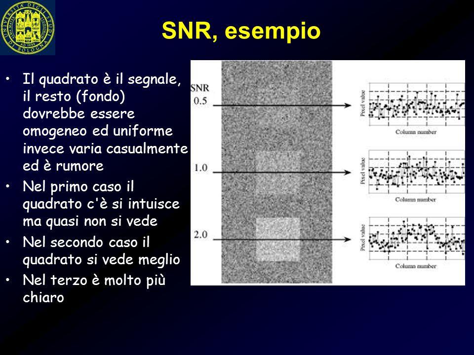 SNR, esempio Il quadrato è il segnale, il resto (fondo) dovrebbe essere omogeneo ed uniforme invece varia casualmente ed è rumore.