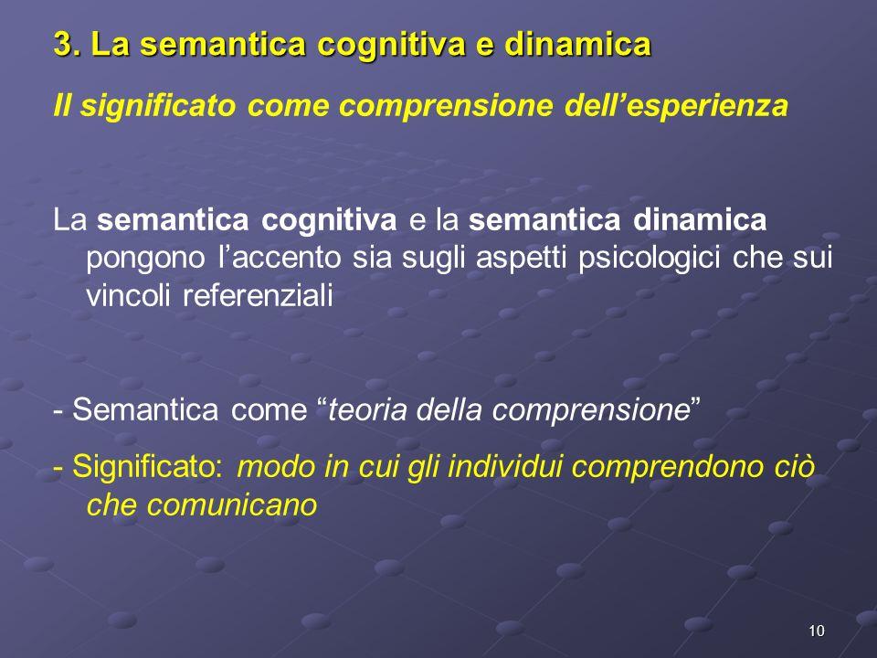 3. La semantica cognitiva e dinamica