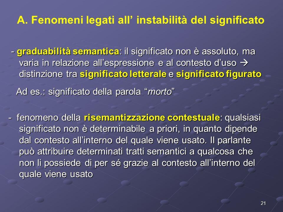 A. Fenomeni legati all' instabilità del significato