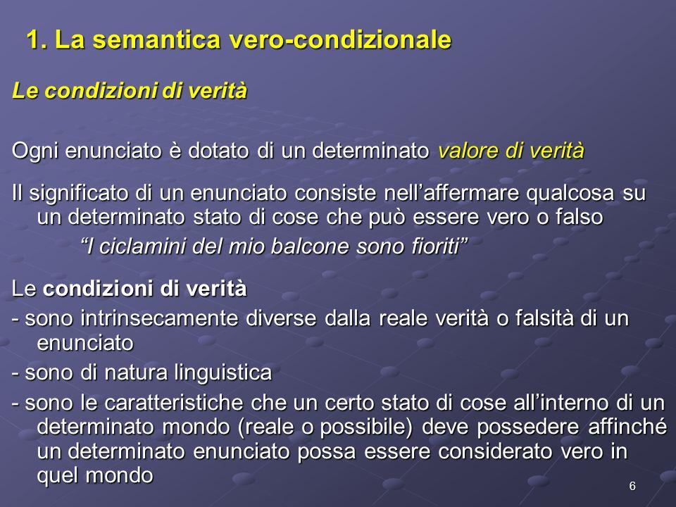 1. La semantica vero-condizionale