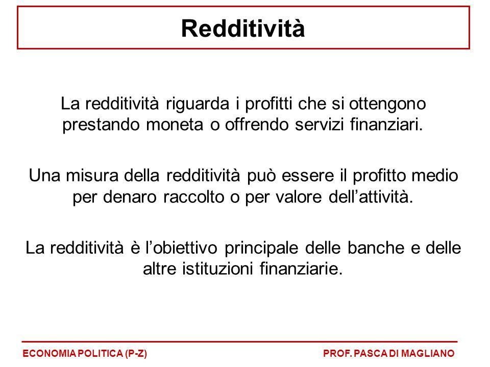 Redditività La redditività riguarda i profitti che si ottengono prestando moneta o offrendo servizi finanziari.