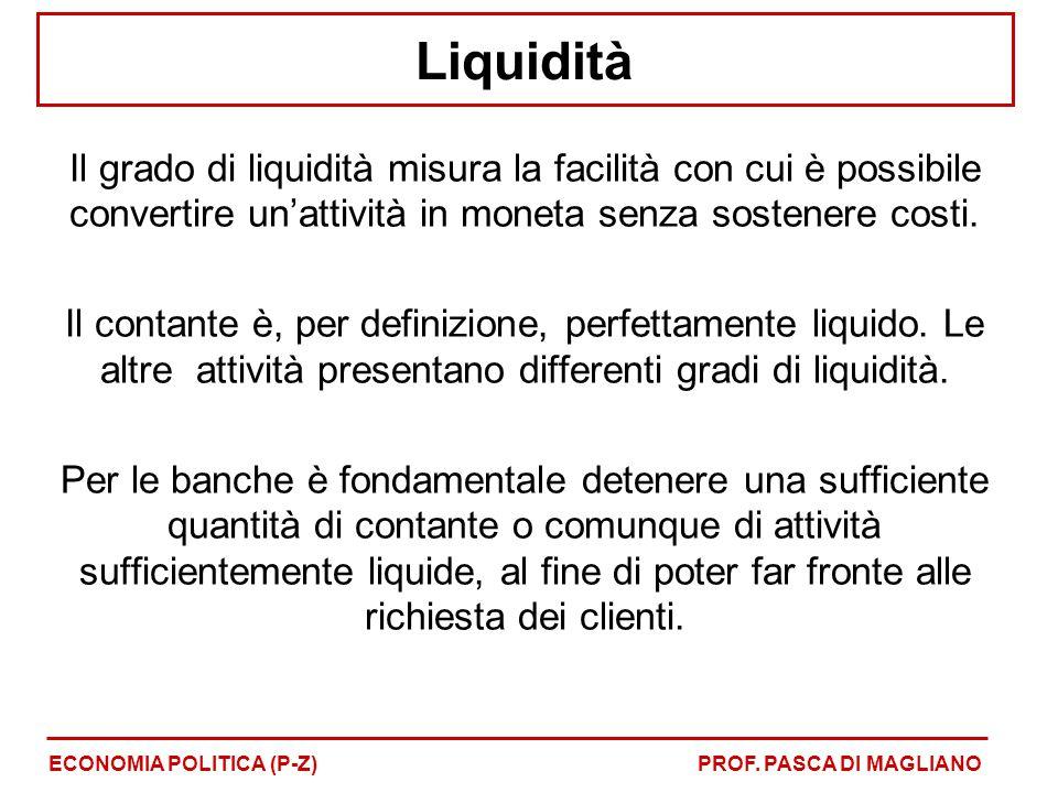 Liquidità Il grado di liquidità misura la facilità con cui è possibile convertire un'attività in moneta senza sostenere costi.