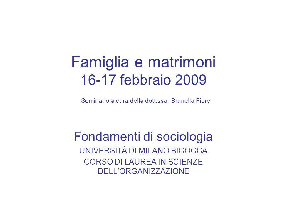 Famiglia e matrimoni 16-17 febbraio 2009 Seminario a cura della dott