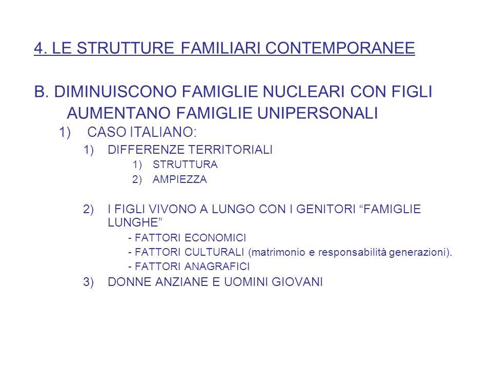 4. LE STRUTTURE FAMILIARI CONTEMPORANEE
