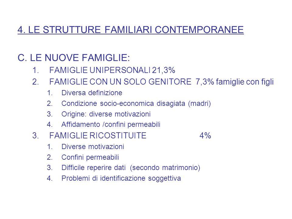 4. LE STRUTTURE FAMILIARI CONTEMPORANEE C. LE NUOVE FAMIGLIE:
