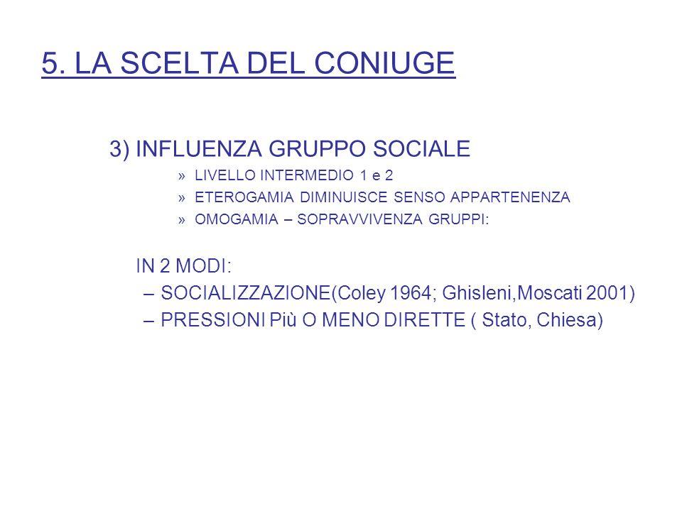 5. LA SCELTA DEL CONIUGE 3) INFLUENZA GRUPPO SOCIALE IN 2 MODI:
