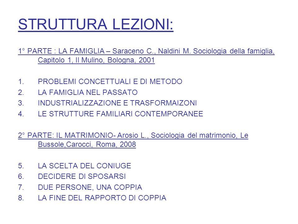 STRUTTURA LEZIONI: 1° PARTE : LA FAMIGLIA – Saraceno C., Naldini M. Sociologia della famiglia, Capitolo 1, Il Mulino, Bologna, 2001.
