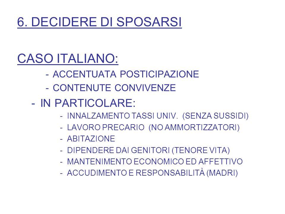 6. DECIDERE DI SPOSARSI CASO ITALIANO: IN PARTICOLARE: