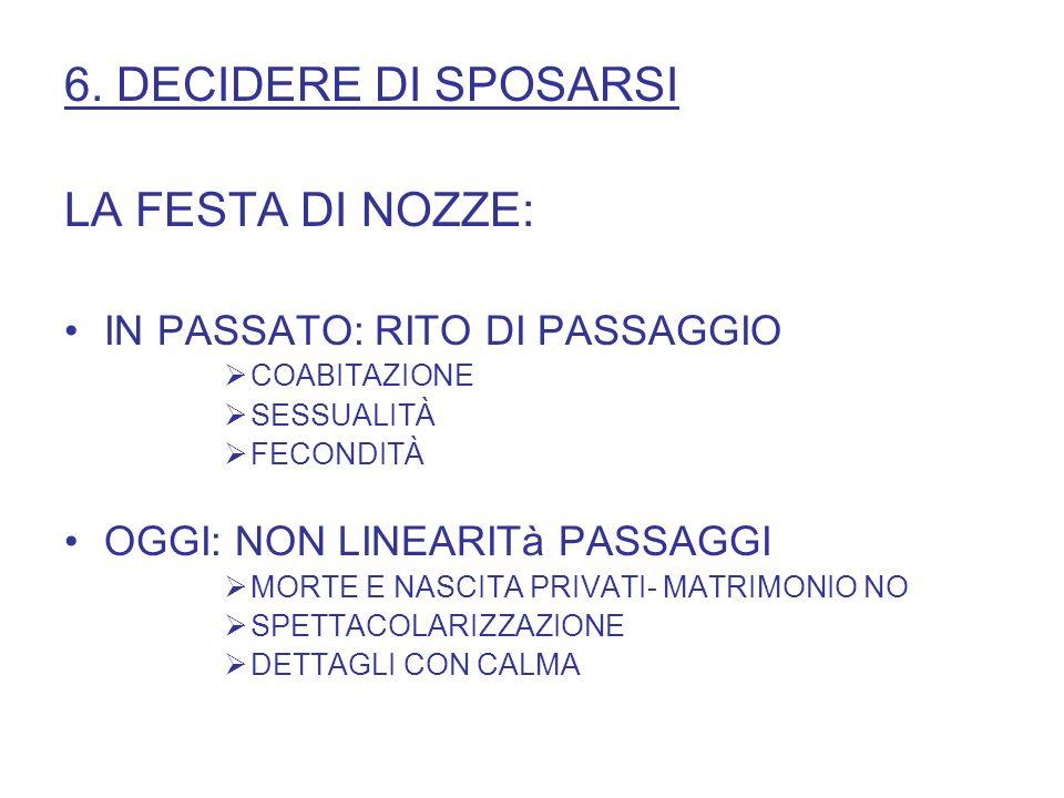 6. DECIDERE DI SPOSARSI LA FESTA DI NOZZE: