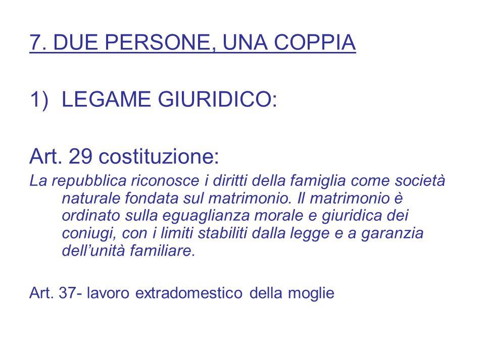 7. DUE PERSONE, UNA COPPIA LEGAME GIURIDICO: Art. 29 costituzione: