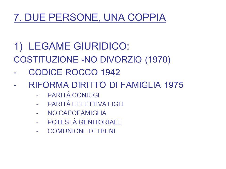 7. DUE PERSONE, UNA COPPIA LEGAME GIURIDICO: