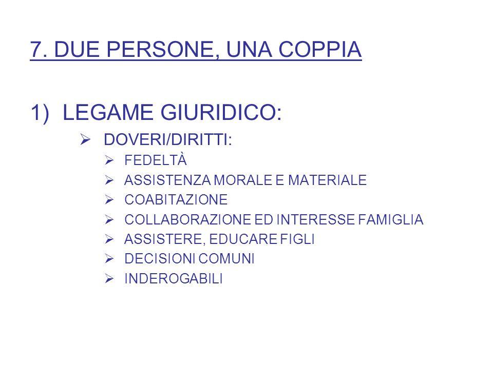 7. DUE PERSONE, UNA COPPIA LEGAME GIURIDICO: DOVERI/DIRITTI: FEDELTÀ