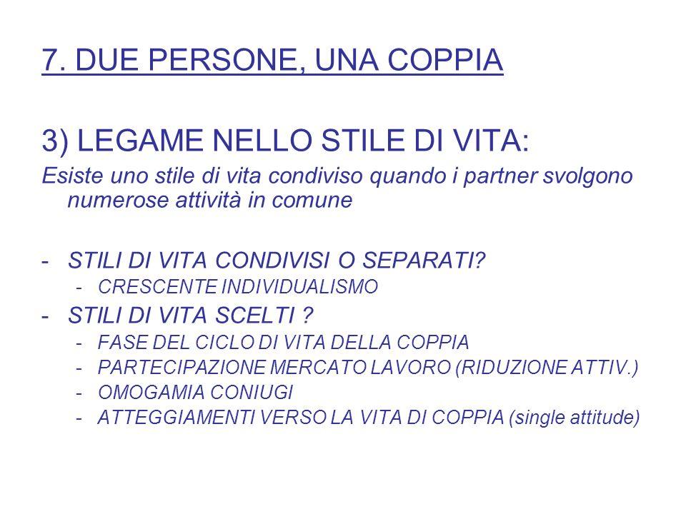 3) LEGAME NELLO STILE DI VITA: