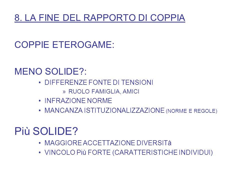 Più SOLIDE 8. LA FINE DEL RAPPORTO DI COPPIA COPPIE ETEROGAME: