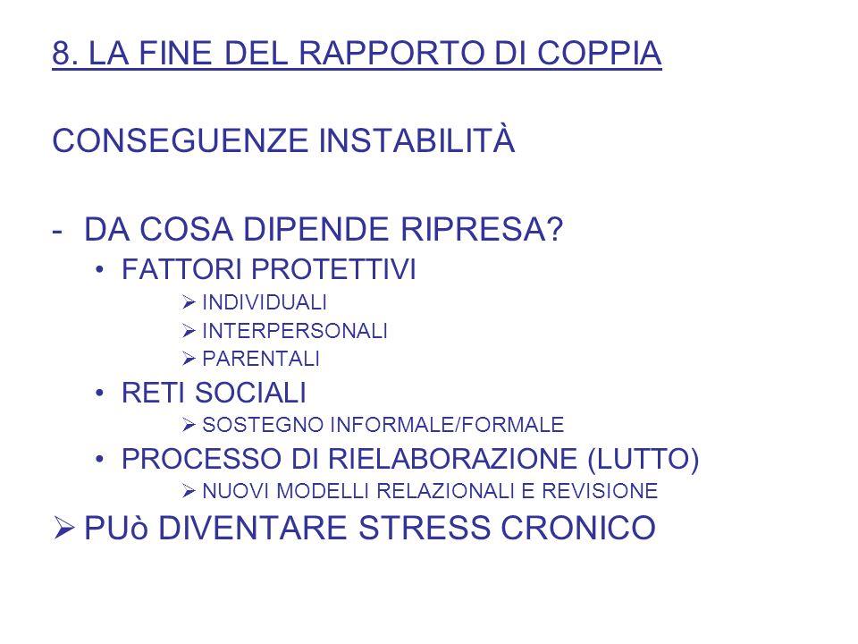 8. LA FINE DEL RAPPORTO DI COPPIA CONSEGUENZE INSTABILITÀ