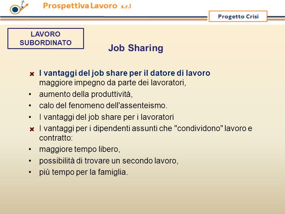 LAVORO SUBORDINATO Job Sharing. I vantaggi del job share per il datore di lavoro maggiore impegno da parte dei lavoratori,