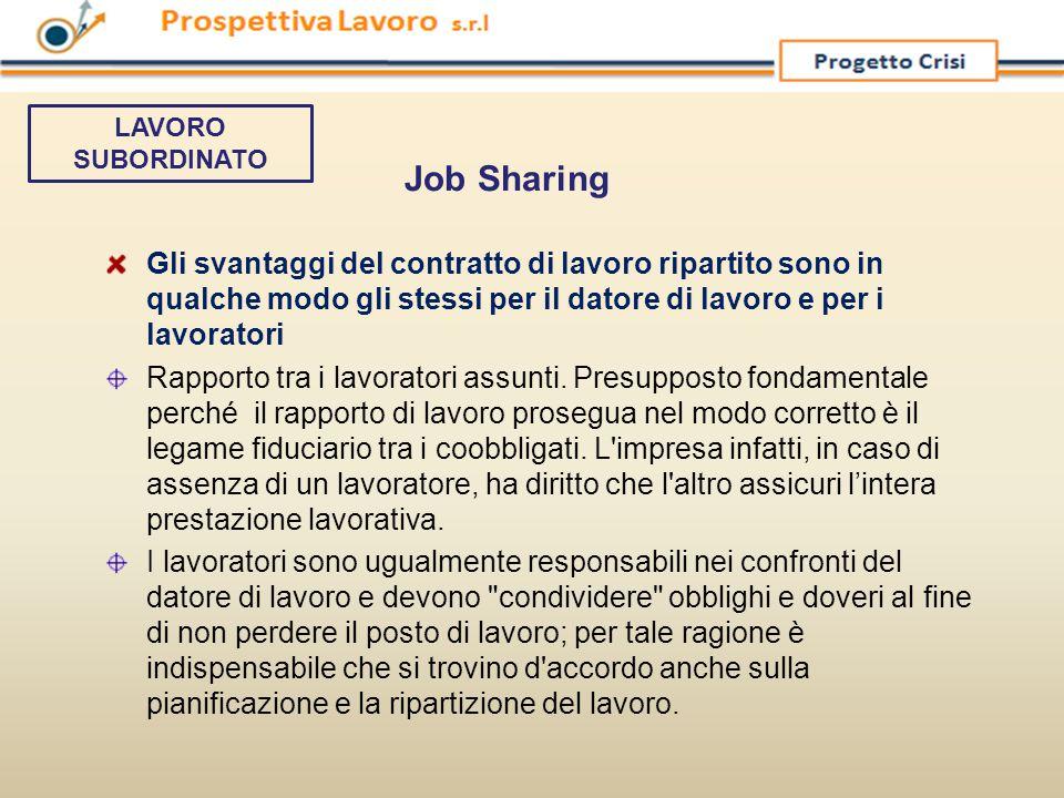 LAVORO SUBORDINATO Job Sharing.