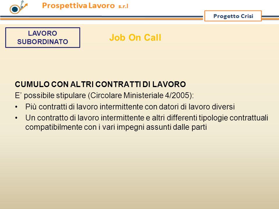 Job On Call CUMULO CON ALTRI CONTRATTI DI LAVORO