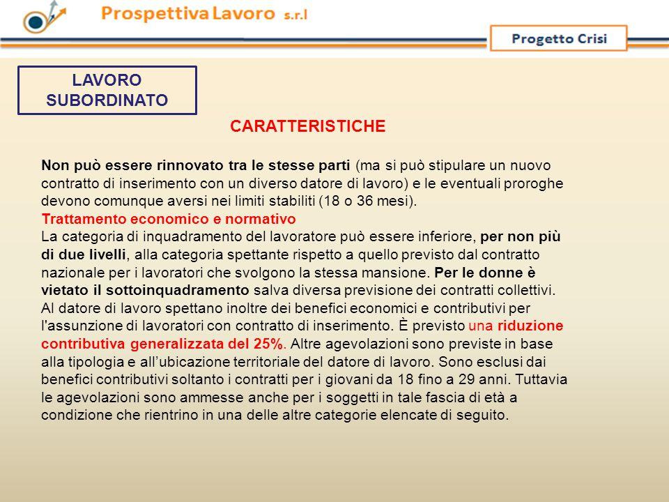 LAVORO SUBORDINATO CARATTERISTICHE.