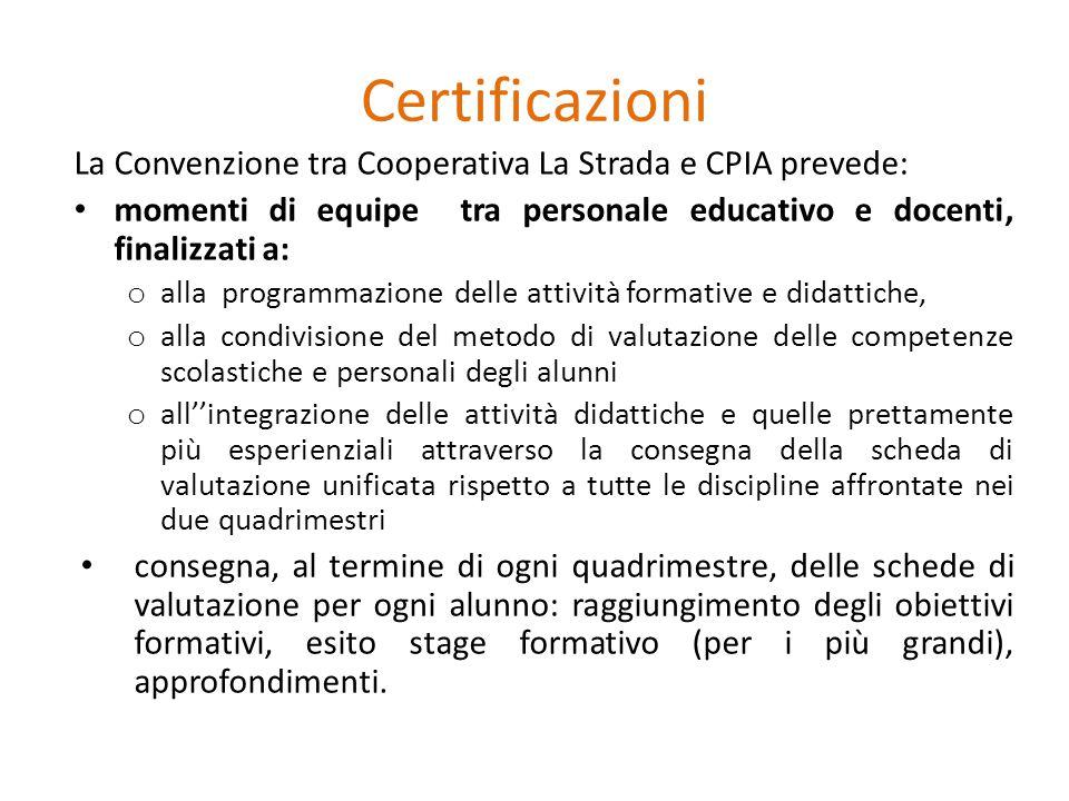 Certificazioni La Convenzione tra Cooperativa La Strada e CPIA prevede: momenti di equipe tra personale educativo e docenti, finalizzati a: