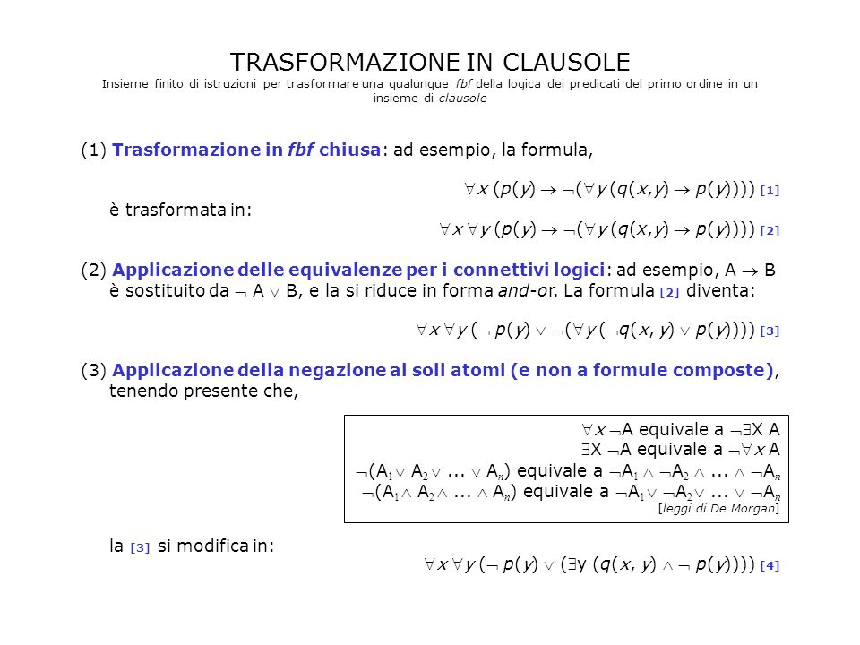 TRASFORMAZIONE IN CLAUSOLE