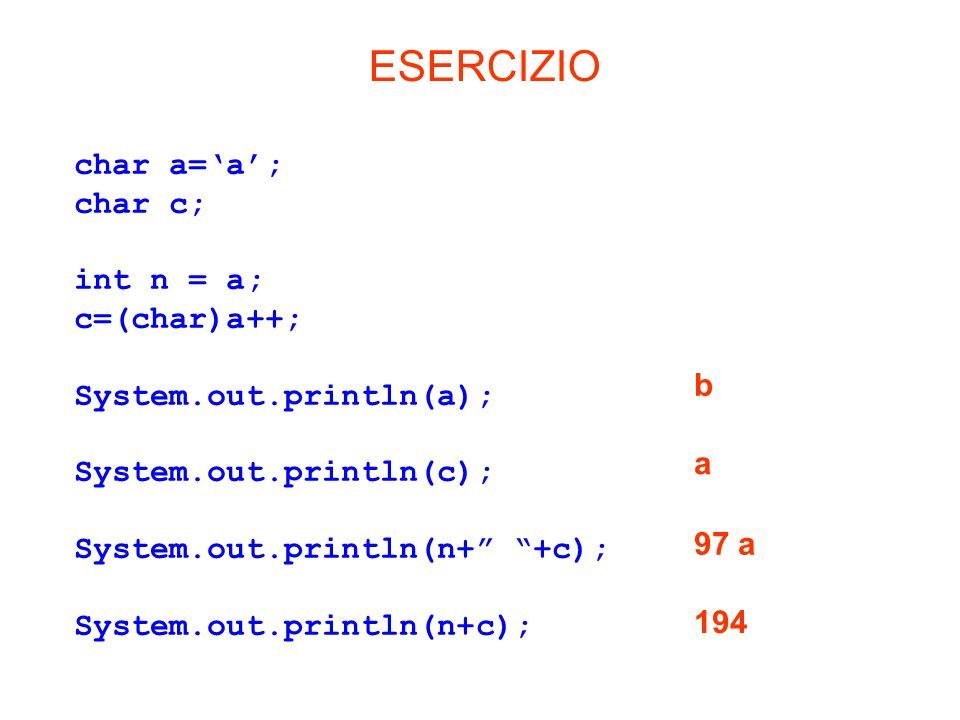 ESERCIZIO char a='a'; char c; int n = a; c=(char)a++;
