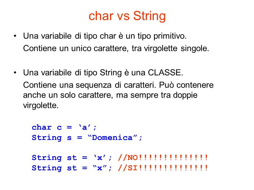 char vs String Una variabile di tipo char è un tipo primitivo.