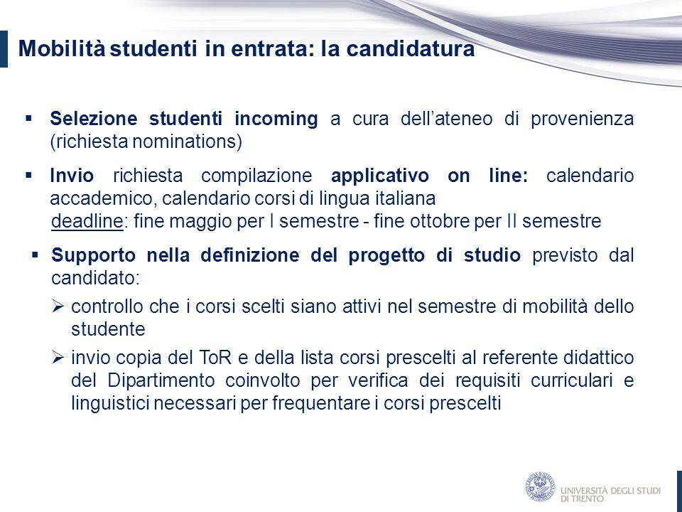 Mobilità studenti in entrata: la candidatura