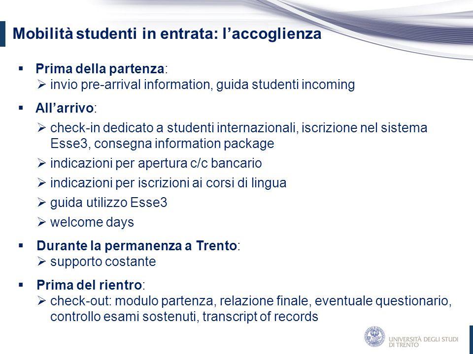 Mobilità studenti in entrata: l'accoglienza