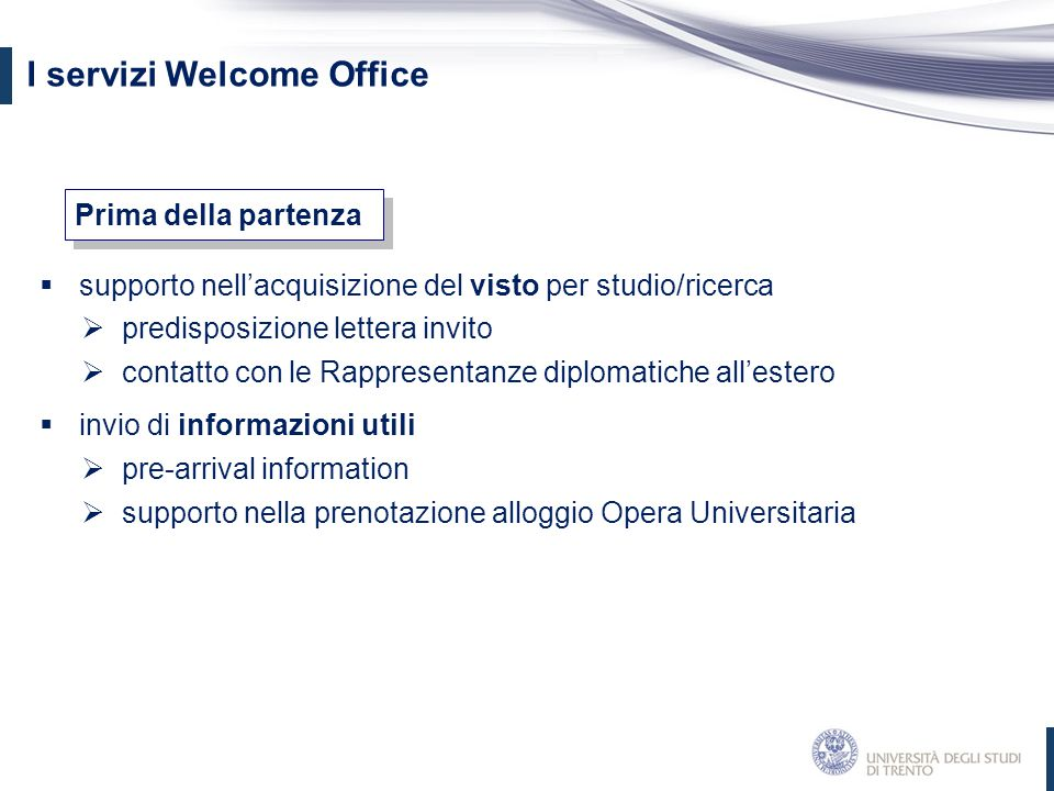 I servizi Welcome Office