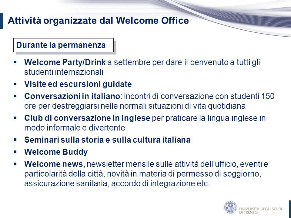 Attività organizzate dal Welcome Office