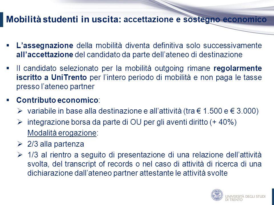 Mobilità studenti in uscita: accettazione e sostegno economico