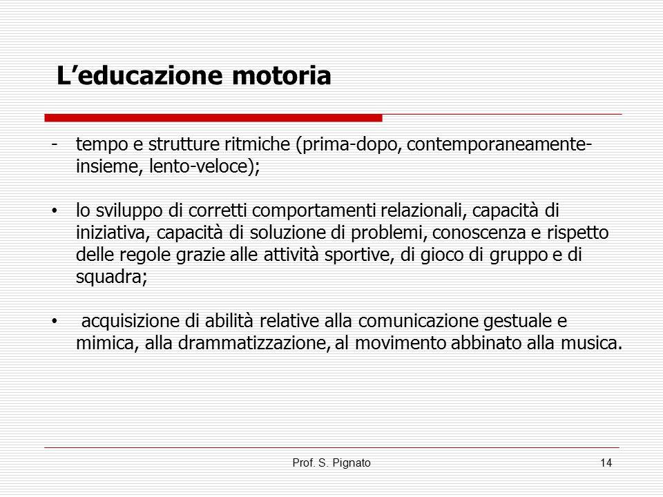 L'educazione motoria tempo e strutture ritmiche (prima-dopo, contemporaneamente-insieme, lento-veloce);