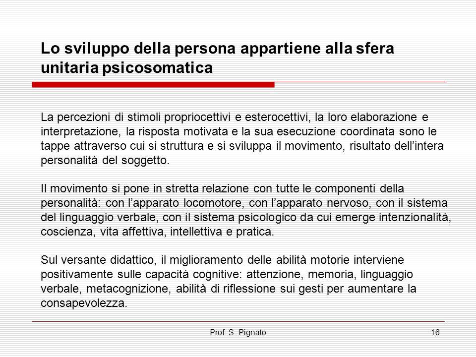 Lo sviluppo della persona appartiene alla sfera unitaria psicosomatica