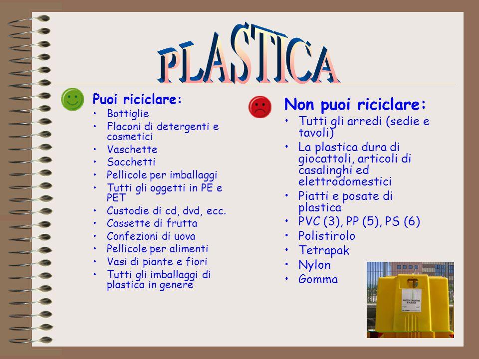 PLASTICA Non puoi riciclare: Puoi riciclare: