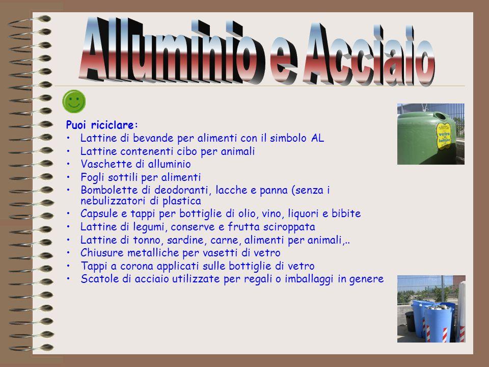 Alluminio e Acciaio Puoi riciclare: