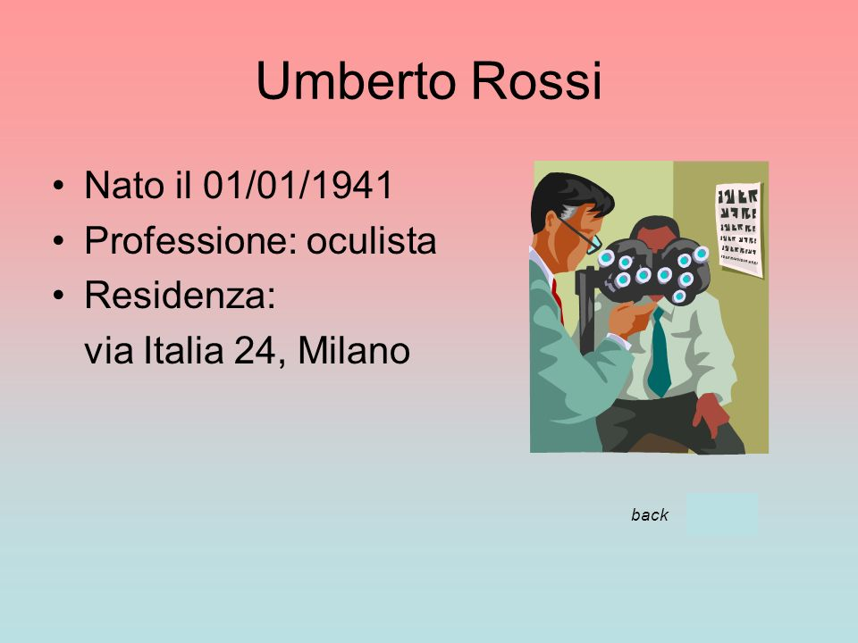 Umberto Rossi Nato il 01/01/1941 Professione: oculista Residenza: