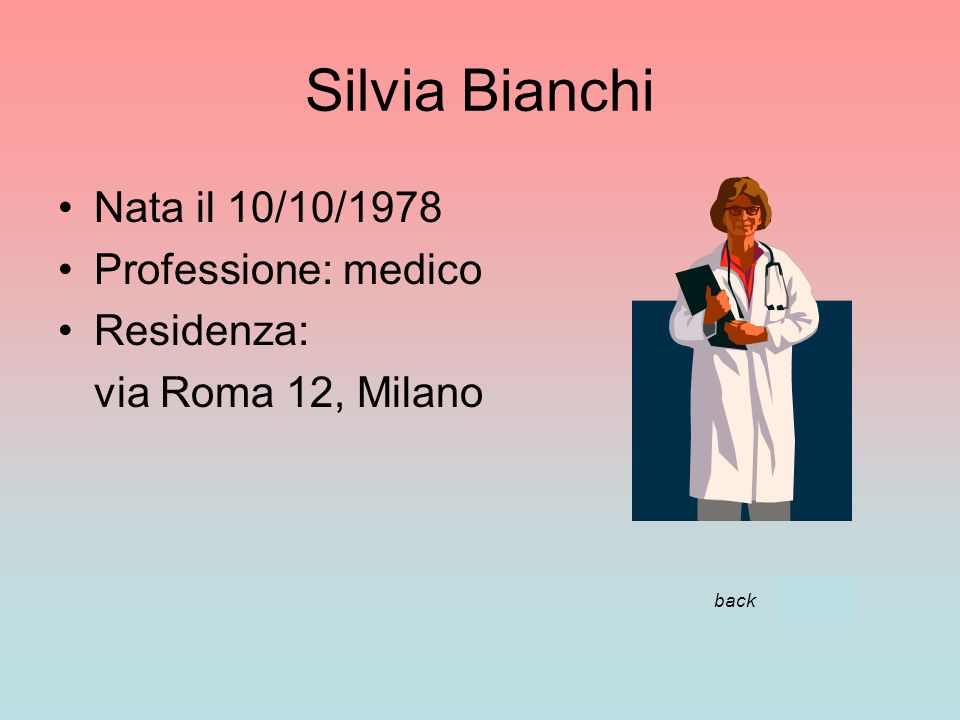 Silvia Bianchi Nata il 10/10/1978 Professione: medico Residenza: