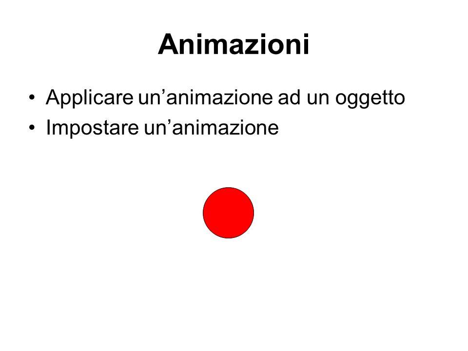 Animazioni Applicare un'animazione ad un oggetto