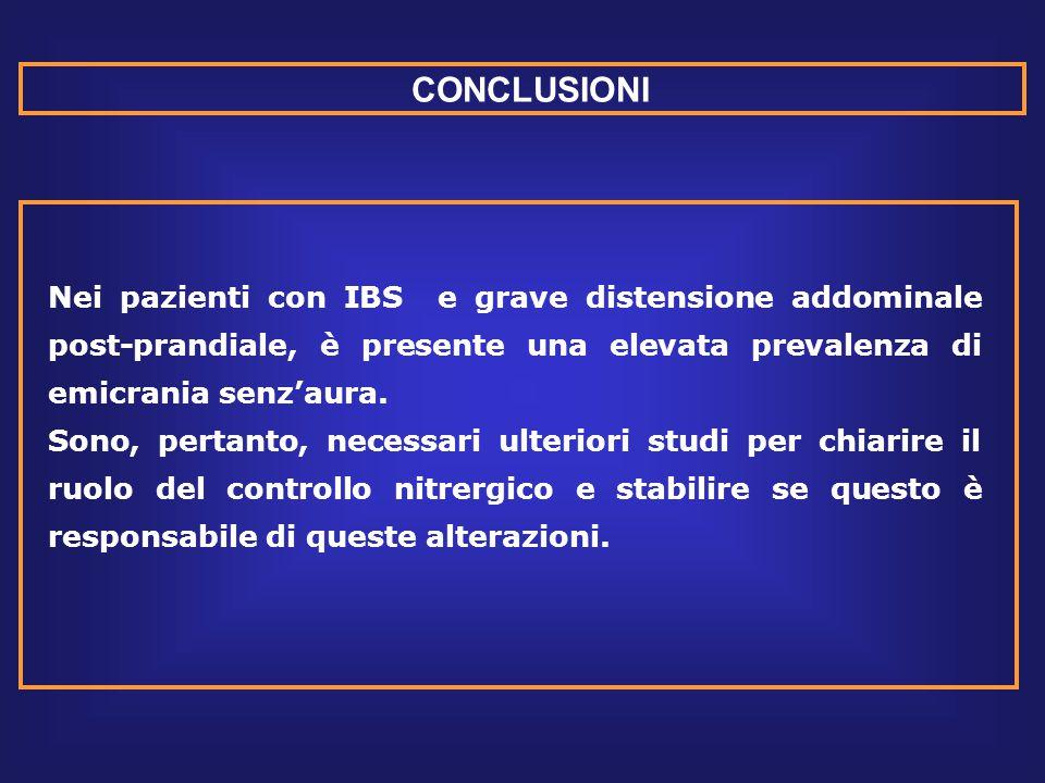 CONCLUSIONI Nei pazienti con IBS e grave distensione addominale post-prandiale, è presente una elevata prevalenza di emicrania senz'aura.