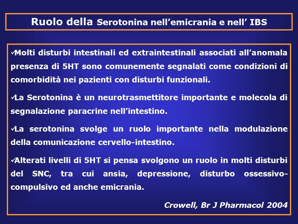Ruolo della Serotonina nell'emicrania e nell' IBS