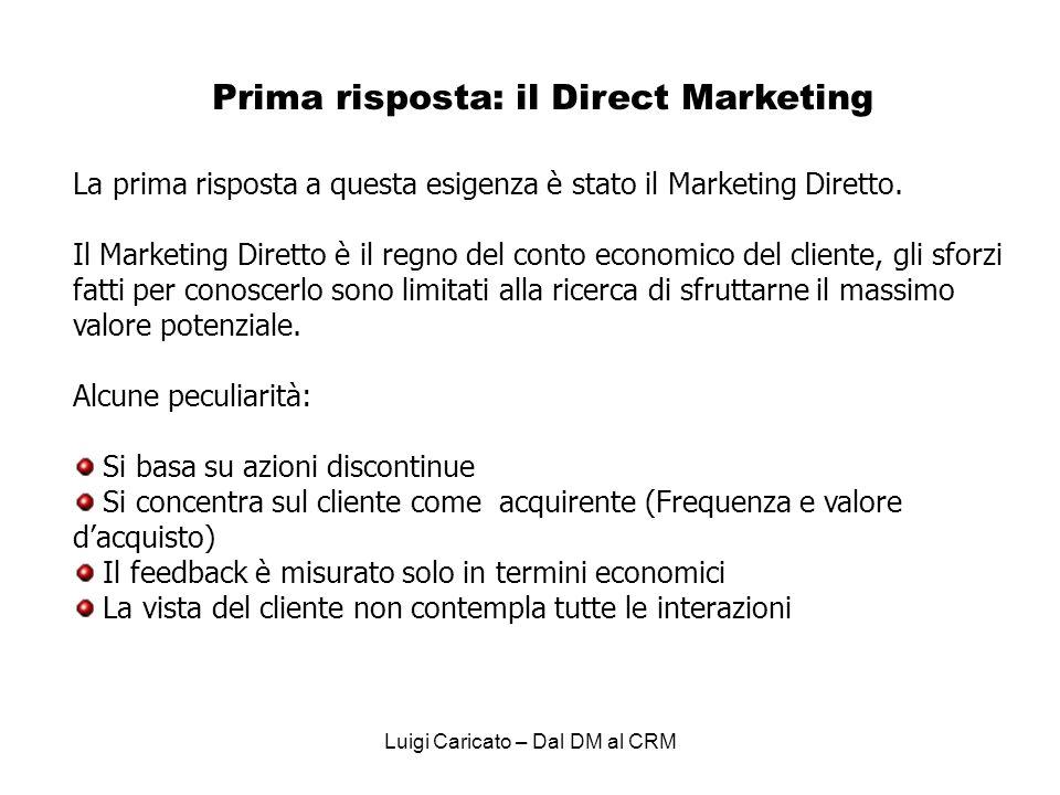 Prima risposta: il Direct Marketing