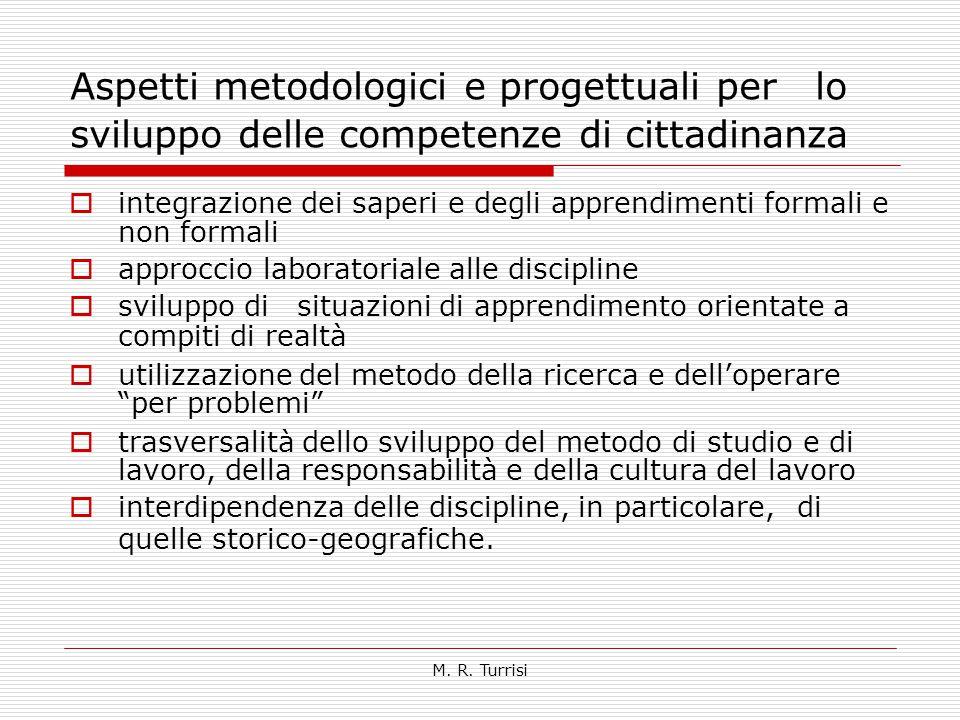 Aspetti metodologici e progettuali per lo sviluppo delle competenze di cittadinanza