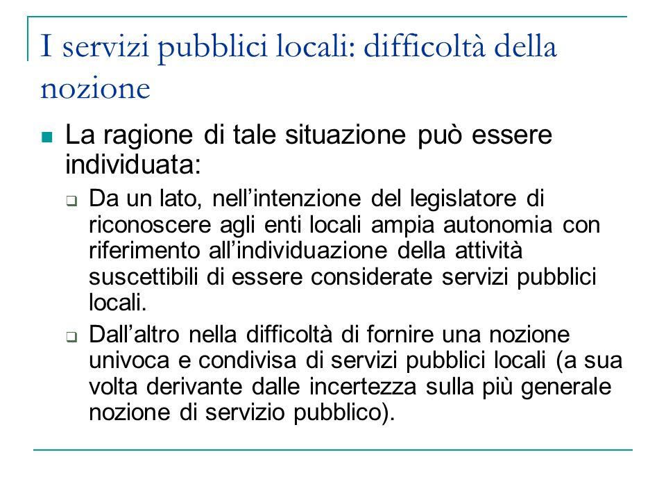 I servizi pubblici locali: difficoltà della nozione