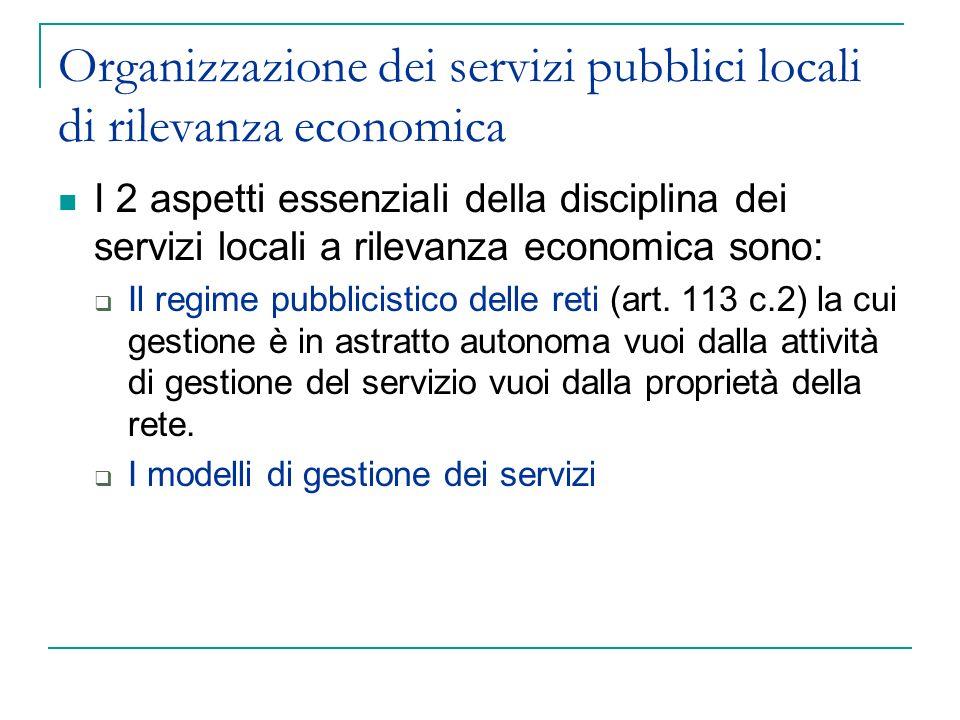 Organizzazione dei servizi pubblici locali di rilevanza economica
