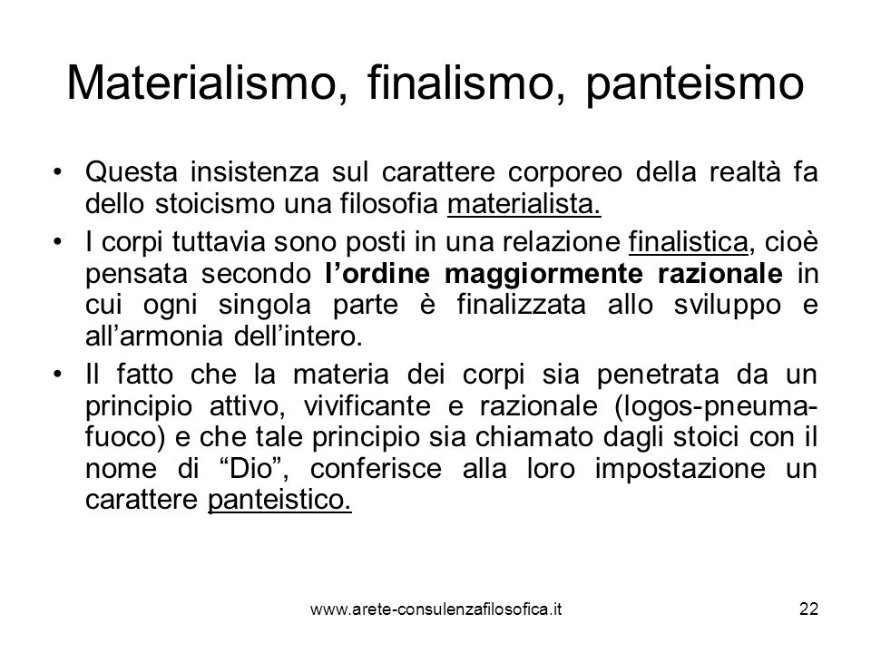Materialismo, finalismo, panteismo